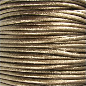 2mm Round Indian Leather Cord - Metallic Kansa - per foot
