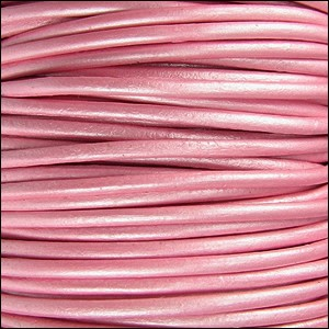 2mm Round Indian Leather Cord - Metallic Mystiq Pink