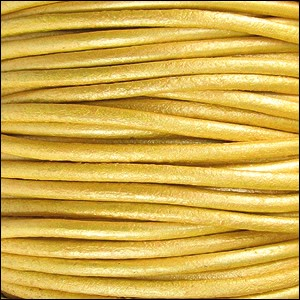 2mm Round Indian Leather Cord - Metallic Mustard