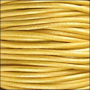 2mm Round Indian Leather Cord per 25M Spool - Metallic Mustard