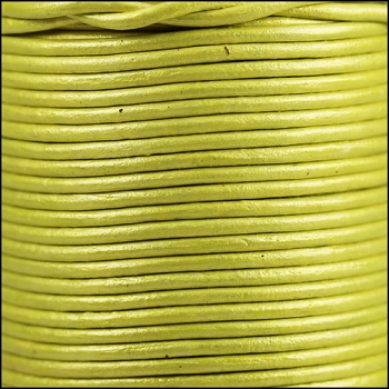 2mm Round Indian Leather Cord - Metallic Yellow