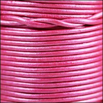 2mm Round Indian Leather Cord - Metallic Magenta