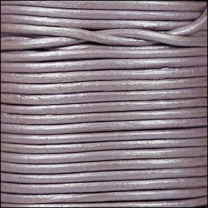 2mm Round Indian Leather Cord -  Metallic Lilac - per foot