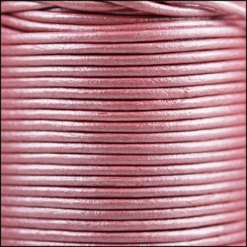 2mm Round Indian Leather Cord per 25M SPOOL - Metallic Pink