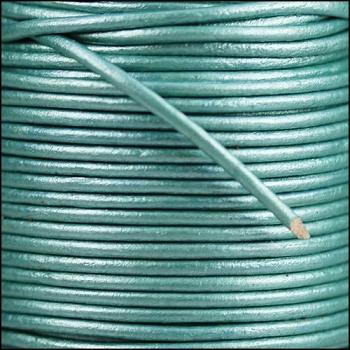 2mm Round Indian Leather Cord per 25M Spool - Metallic Fern