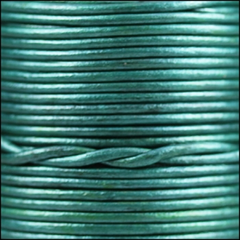 2mm Round Indian Leather Cord - Metallic Teal
