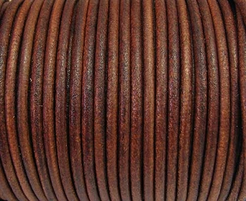 2mm Round Euro Leather Cord - Tobacco - per foot