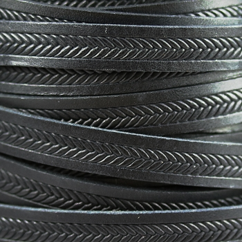 10mm Imprinted Braid Leather - Black