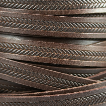 10mm Imprinted Braid Leather - Brown