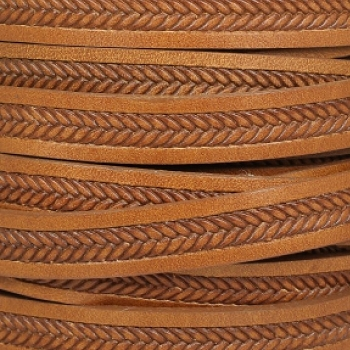 10mm Imprinted Braid Leather - Tan