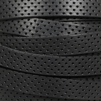 10mm Perforated Leather - Black