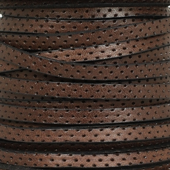 5mm Perforated Leather - Brown