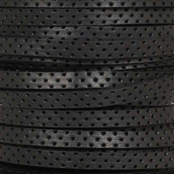 5mm Perforated Leather - Black