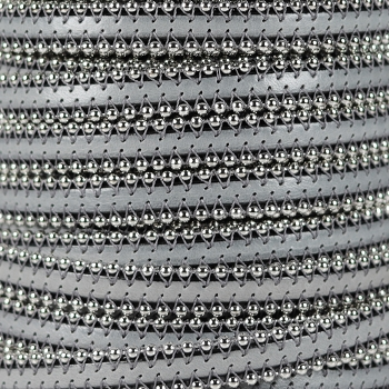 Ball Chain 10mm Flat Leather LIGHT GREY - per inch