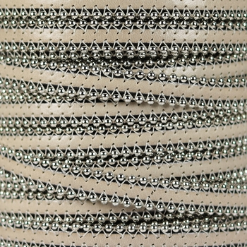 Ball Chain 10mm Flat Leather BEIGE