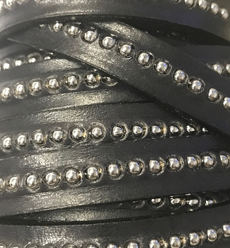CENTER Ball Chain 10mm Flat Leather BLACK - per inch