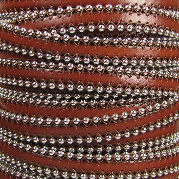 Ball Chain 10mm Flat Leather BROWN