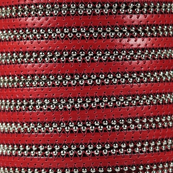 Ball Chain 10mm Flat Leather RED
