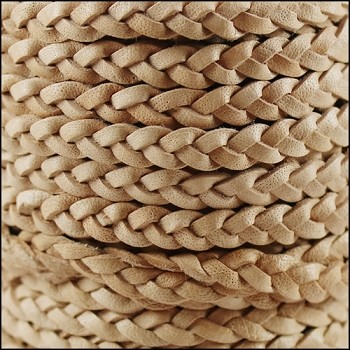 Braided 5mm FLAT Leather Cord CREAM - per inch