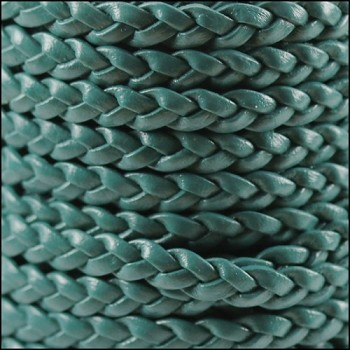 Braided 5mm FLAT Leather Cord TURQUOISE - per inch