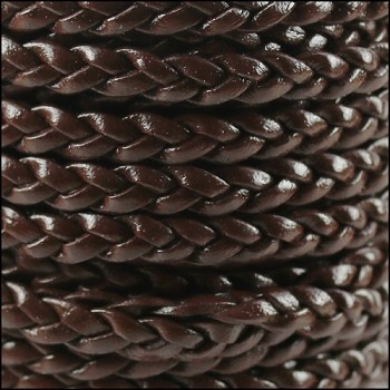 Braided 5mm FLAT Leather Cord DARK BROWN - per inch