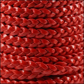 Braided 5mm FLAT Leather Cord CRIMSON - per inch