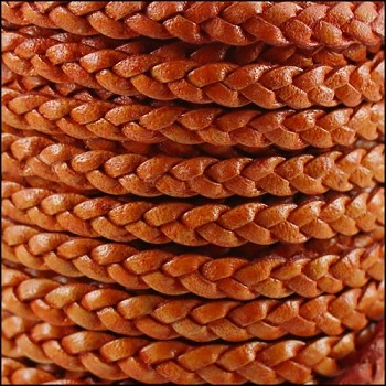 Braided 5mm FLAT Leather Cord NAT ORANGE - per inch
