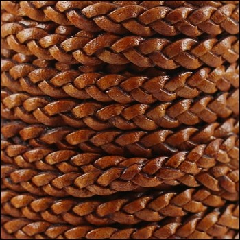 Braided 5mm FLAT Leather Cord NAT LT BROWN - per inch
