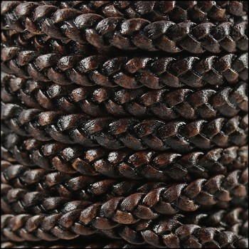 Braided 5mm FLAT Leather Cord per 10 Meter spool NAT DARK BROWN