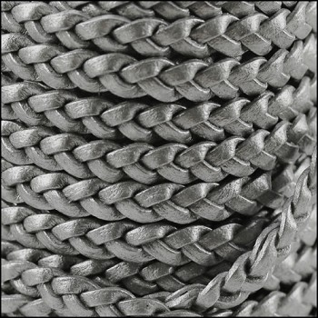 Braided 5mm FLAT Leather Cord MET SILVER - per inch