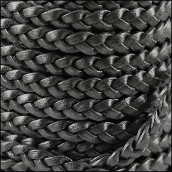 Braided 5mm FLAT Leather Cord GRAPHITE - per inch