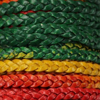 Braided 5mm FLAT Leather Cord MULTI COLOR - per inch
