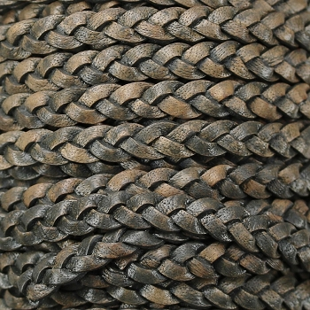 Braided 5mm Flat Leather Cord NATURAL CHARCOAL - 10 Meter Spool