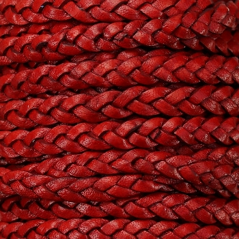 Braided 5mm FLAT Leather Cord NATURAL WINE RED - per inch