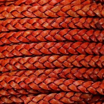 Braided 5mm FLAT Leather Cord NATURAL DARK ORANGE - per inch