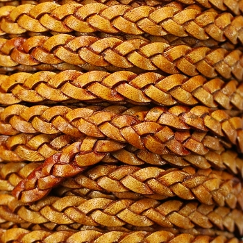 Braided 5mm FLAT Leather Cord NATURAL TAN - per inch