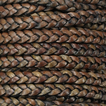 Braided 5mm FLAT Leather Cord CEDAR BROWN - per inch