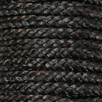 Braided 5mm FLAT Leather Cord NATURAL ESPRESSO - per inch