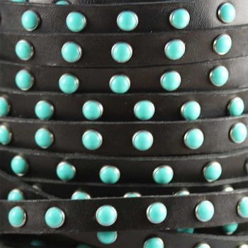 Flat 10mm DOME STUDDED leather BLACK + TURQUOISE - per 1 meter