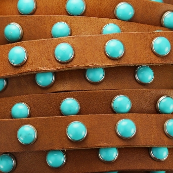 Flat 10mm DOME STUDDED leather TAN + TURQUOISE - per inch
