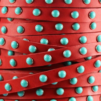 Flat 10mm DOME STUDDED leather RED + TURQUOISE - per inch