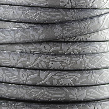 Embossed Floral 10mm Flat  leather LIGHT GREY - per meter