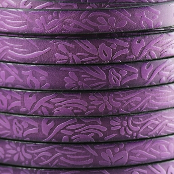 Embossed Floral 10mm Flat  leather PURPLE - per inch