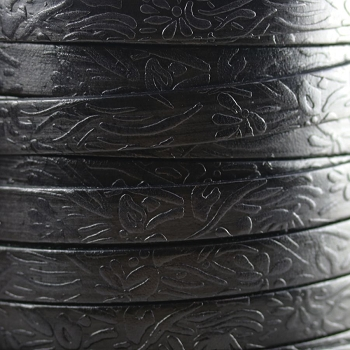 Embossed Floral 10mm Flat  leather BLACK - per inch