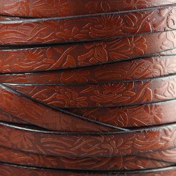 Embossed Floral 10mm Flat  leather BROWN - per inch
