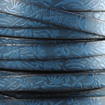Embossed Floral 10mm Flat  leather BLUE - per inch
