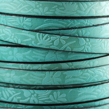 Embossed Floral 10mm Flat  leather TURQUOISE - per inch