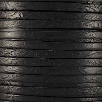 Embossed Floral 5mm Flat  leather BLACK - per inch