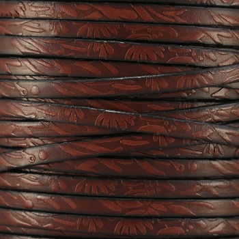 Embossed Floral 5mm Flat  leather BROWN - per inch