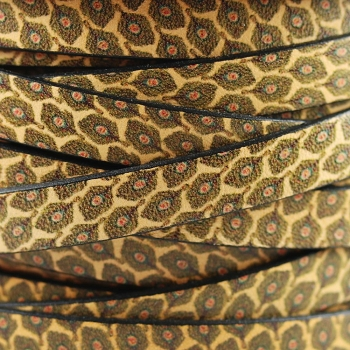 Ornate 10mm Flat Printed Italian leather PEACOCK- per 2 Meters